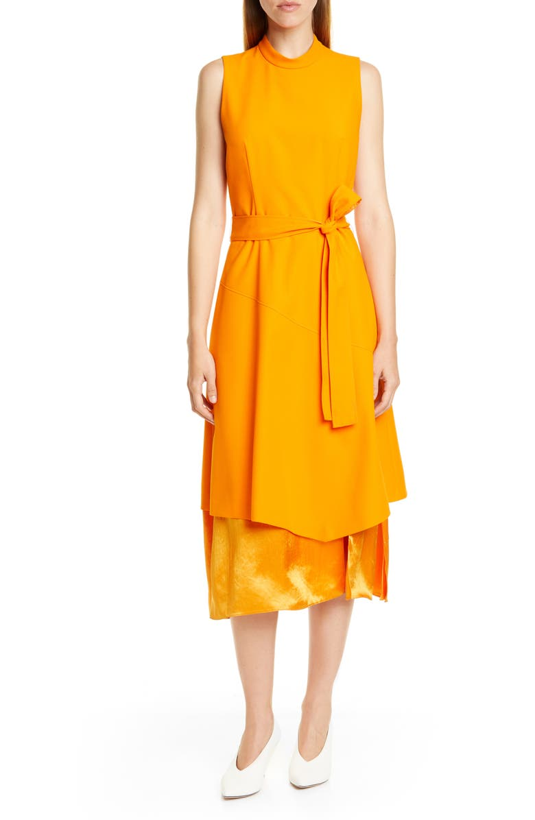 HUGO Kethea Mixed Layer Sleeveless Midi Dress, Main, color, CHROME ORANGE