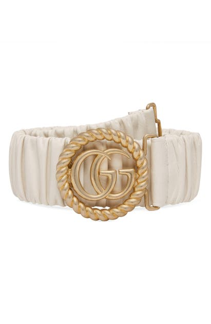 Gucci Gg Marmont Elastic Leather Belt In Mystic White