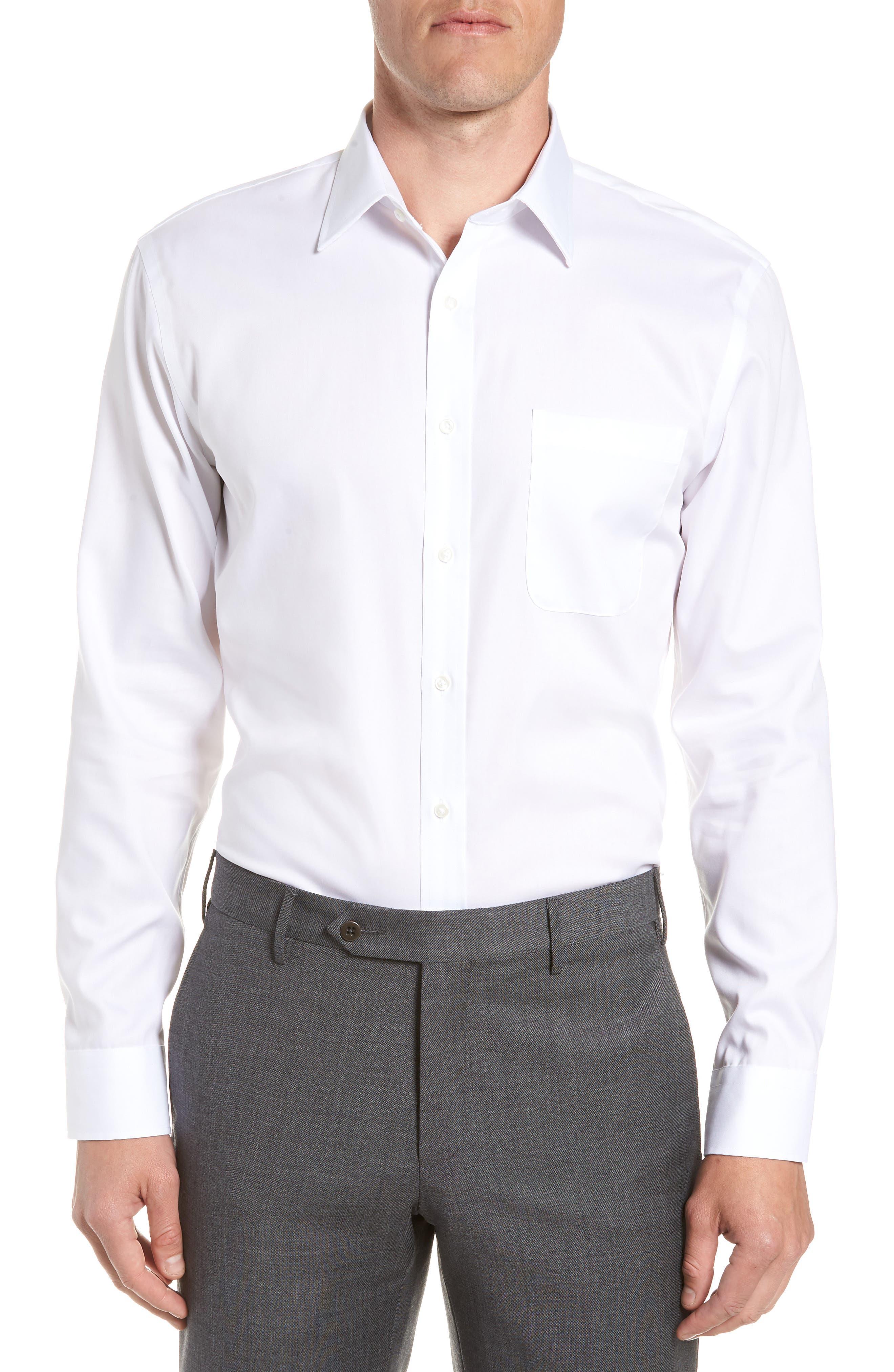 Trim Fit Non-Iron Dress Shirt, Main, color, WHITE