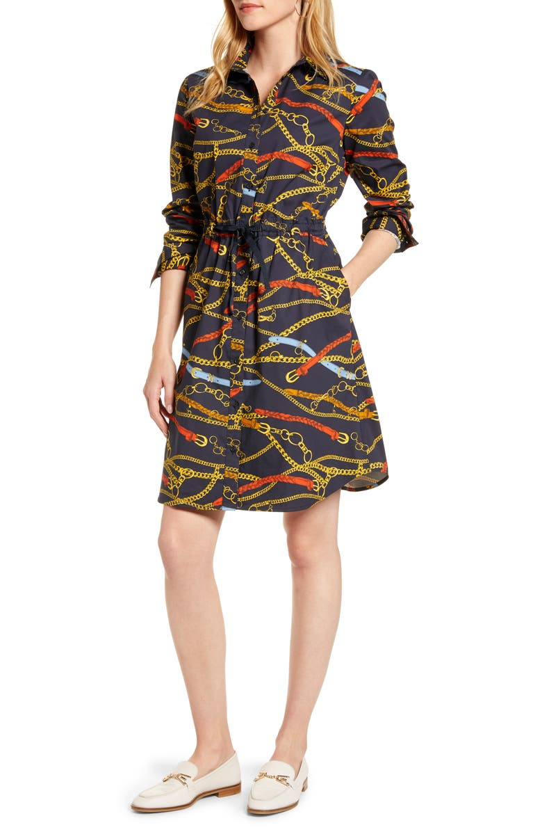 1901 Tie Waist Shirtdress, Main, color, NAVY MULTI CHAIN PRINT