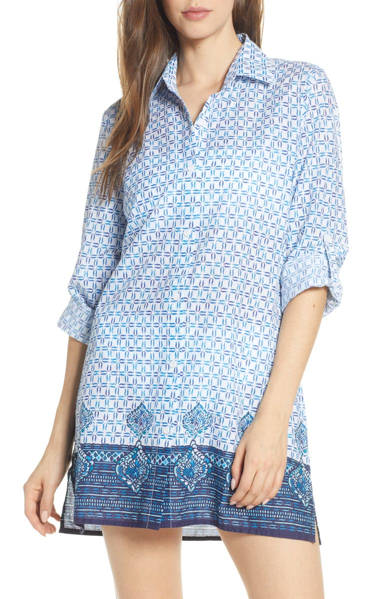 TOMMY BAHAMA Floral Isles Cover-Up Shirt, Main, color, WHITE