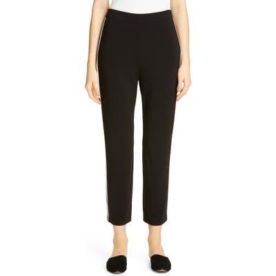 St. John Collection Knit Stripe Matte Jersey Capri Pants, Black