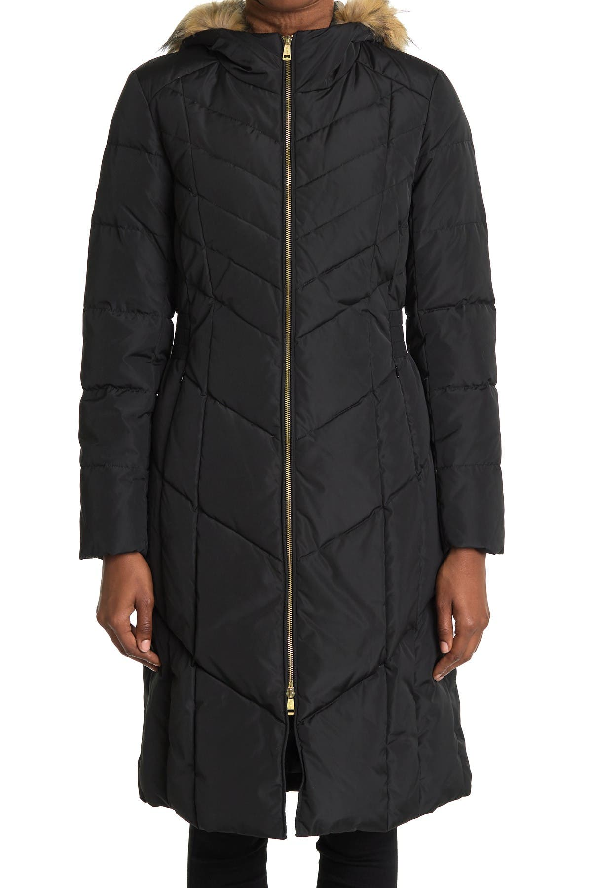 Image of Cole Haan Puffer Down Faux Fur Trim Hooded Long Coat