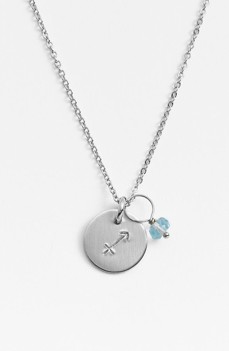 NASHELLE Semiprecious Birthstone Sterling Silver Zodiac Mini Disc Necklace, Main, color, SAGITTARIUS
