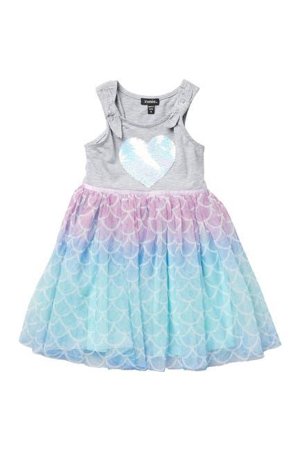 Image of Zunie Ruffle Rainbow Sequins Heart Dress