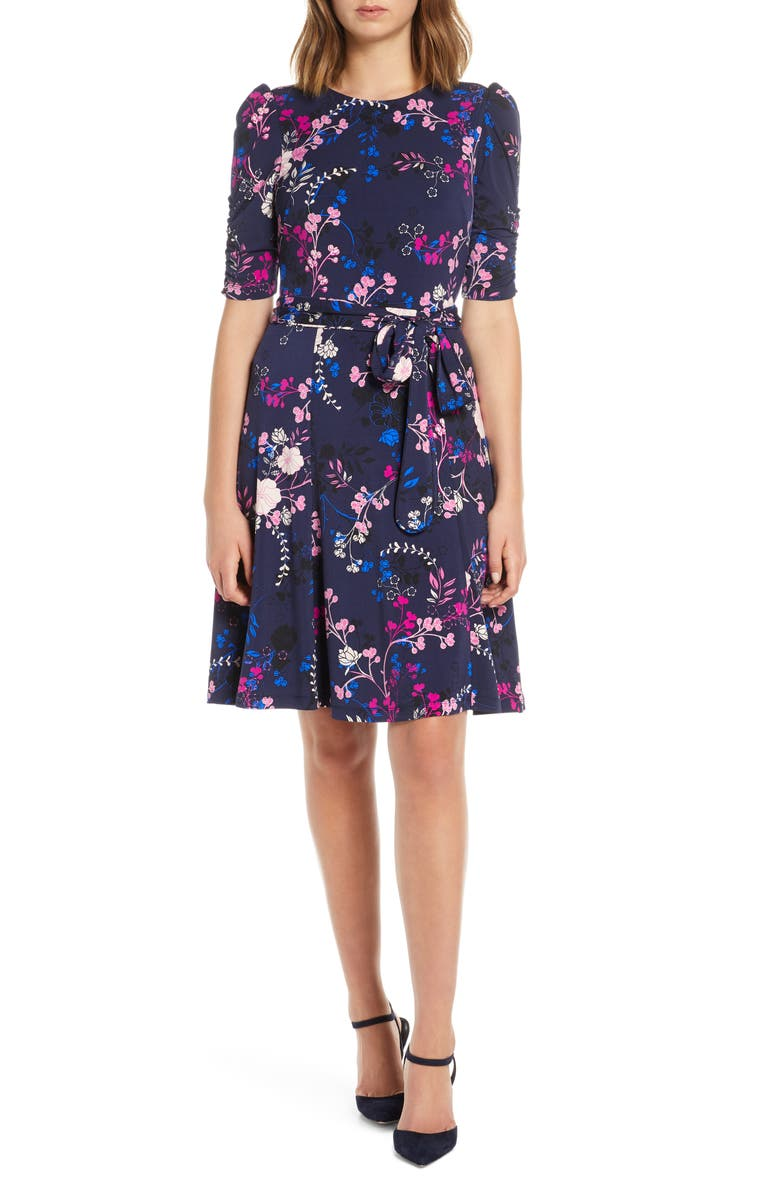 ELIZA J Floral Print Ruched Sleeve Fit & Flare Dress, Main, color, NAVY