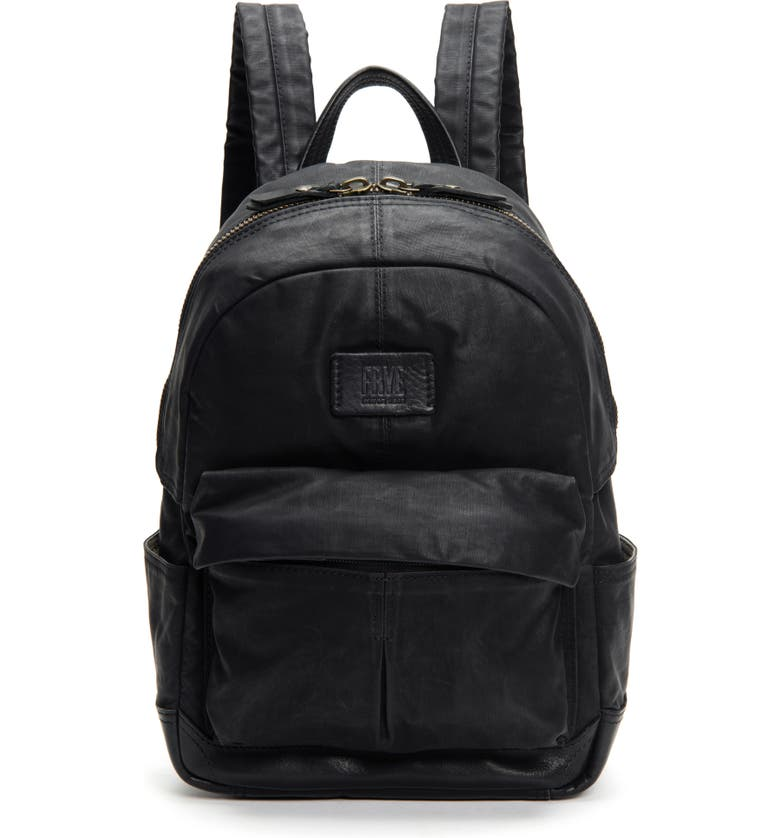FRYE Small Scout Canvas & Leather Backpack, Main, color, BLACK