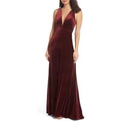 Jenny Yoo Logan Plunging V-Neck Velvet Gown, Red