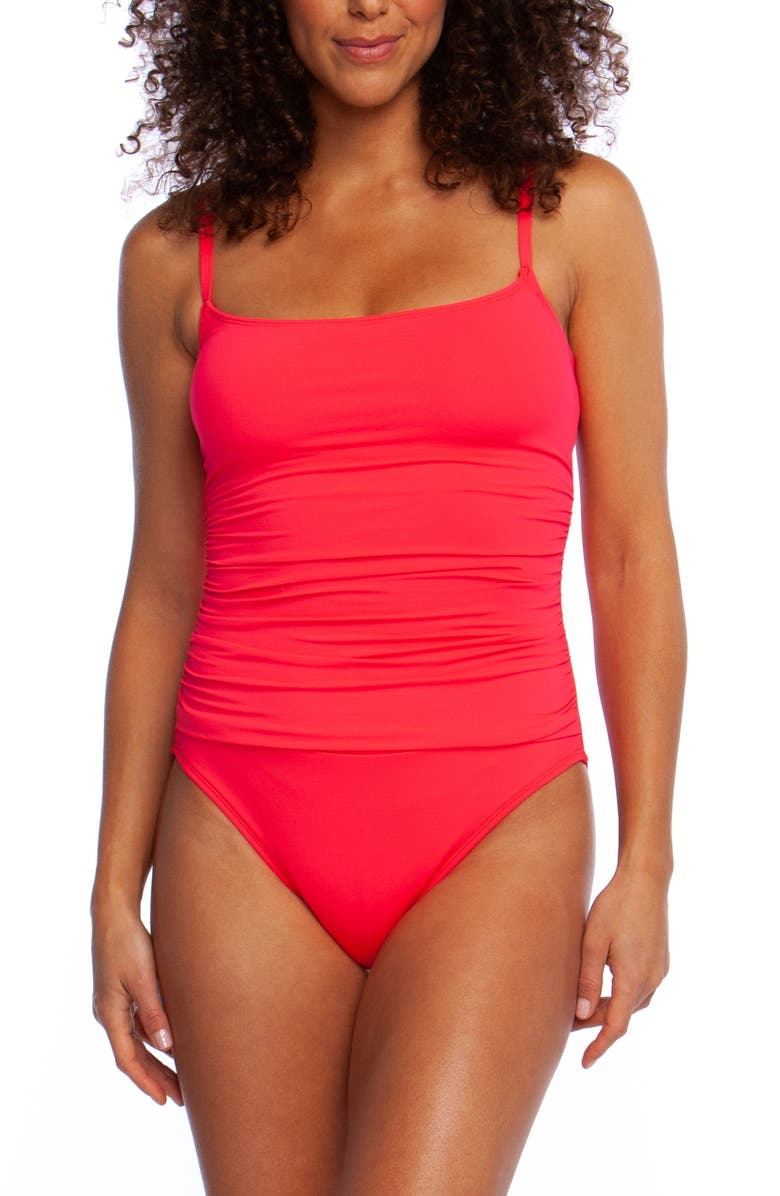 LA BLANCA Island Goddess One-Piece Swimsuit, Main, color, WATERMELON