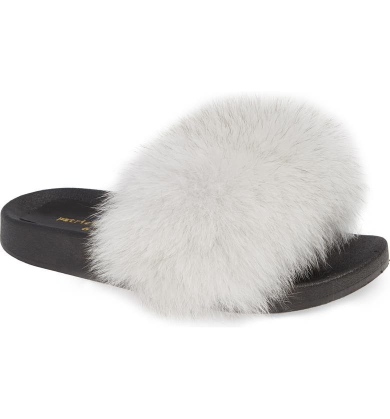 PATRICIA GREEN Foxy Genuine Fox Fur Slipper, Main, color, WHITE FUR