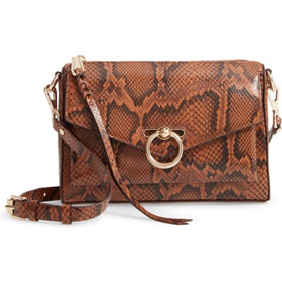 Rebecca Minkoff Jean MAC Snake Embossed Leather Convertible Crossbody Bag - Brown
