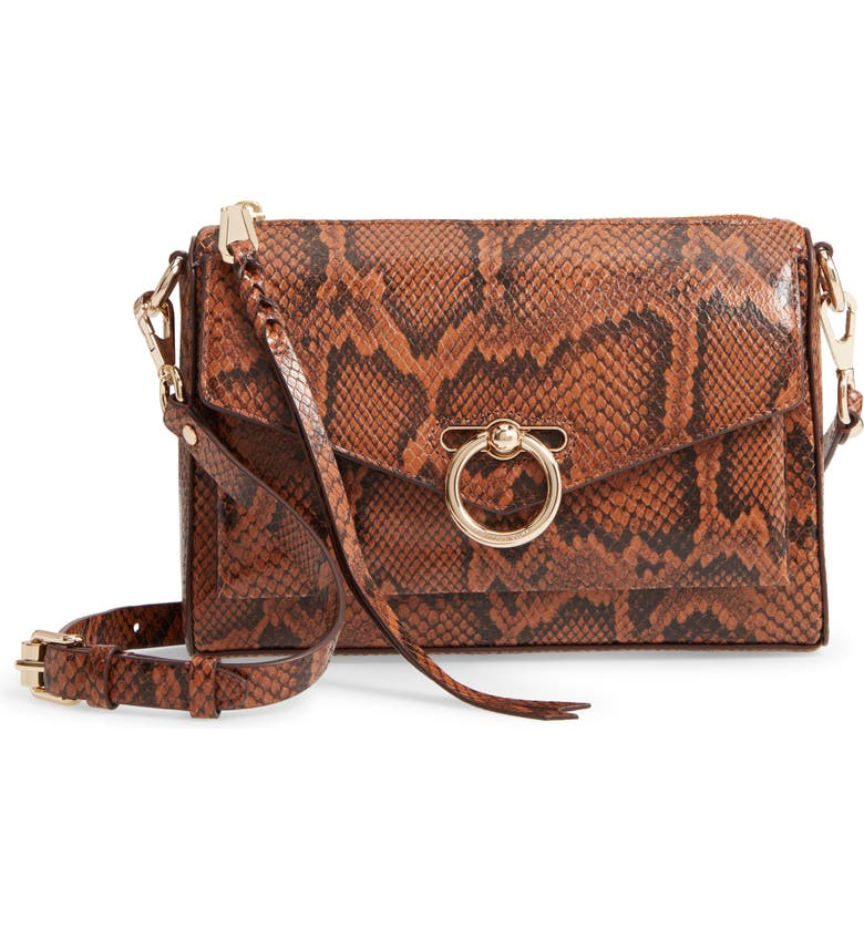 REBECCA MINKOFF Jean Mac Snake Embossed Leather Convertible Crossbody Bag, Main, color, 200