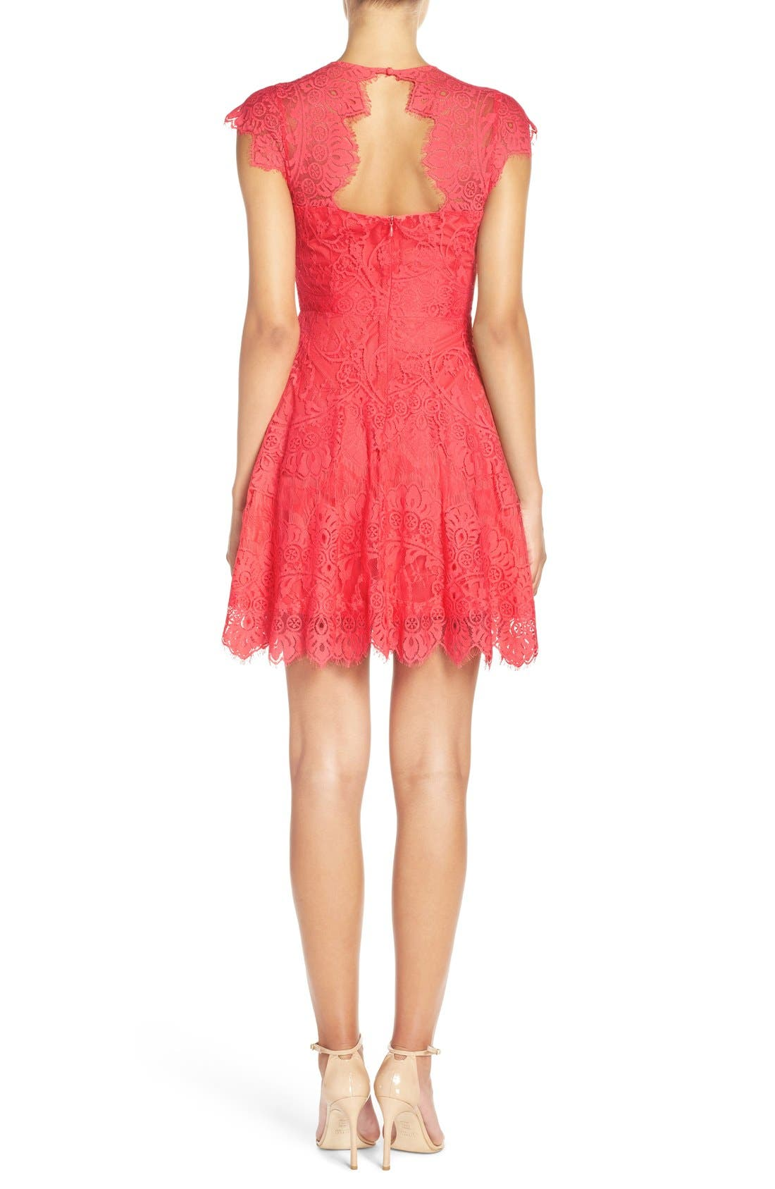,                             Rhianna Open Back Lace Fit & Flare Cocktail Dress,                             Alternate thumbnail 84, color,                             956
