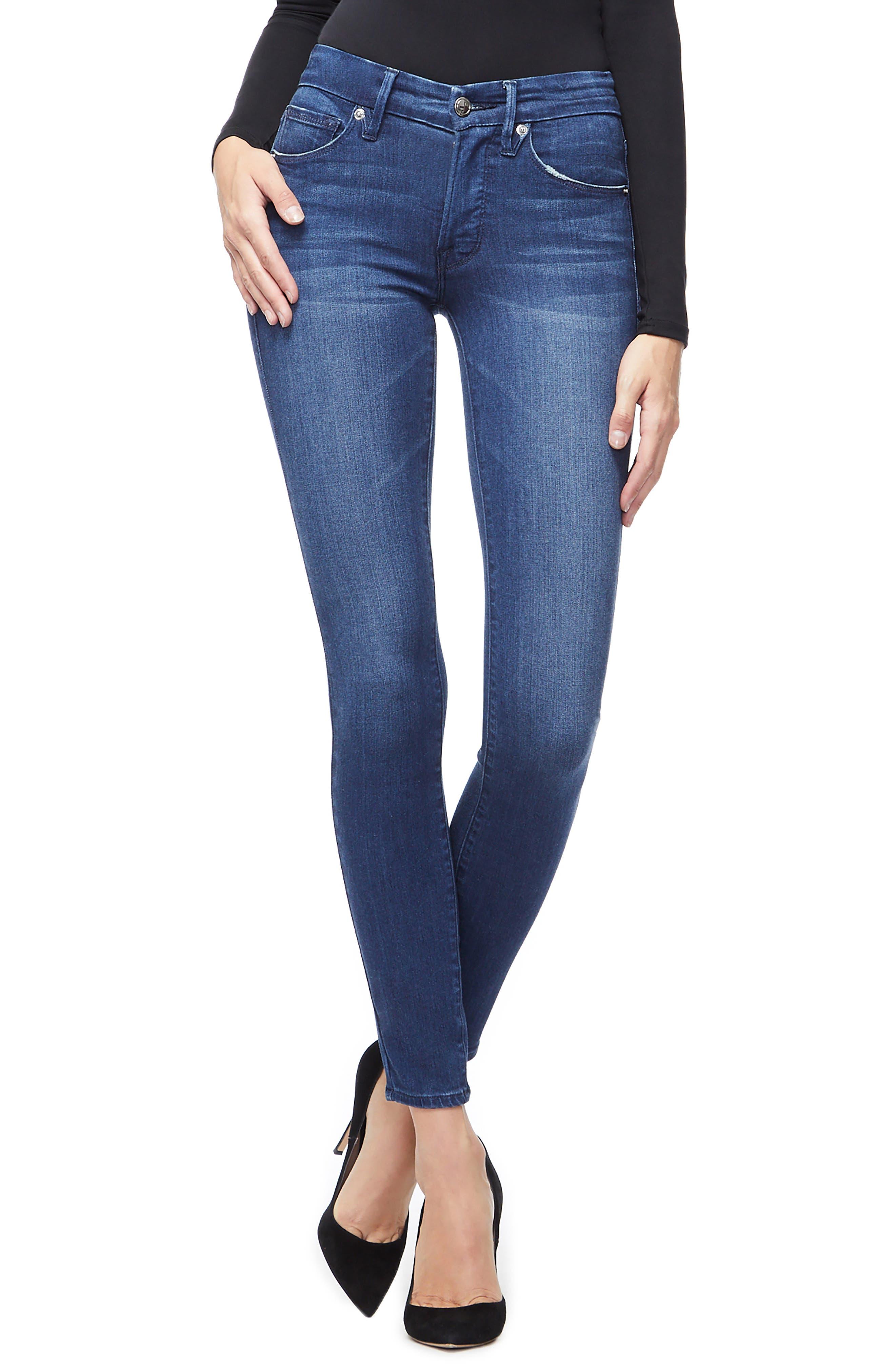 Good American Good Legs High Waist Ankle Skinny Jeans (Blue 778) (Regular & Plus Size)