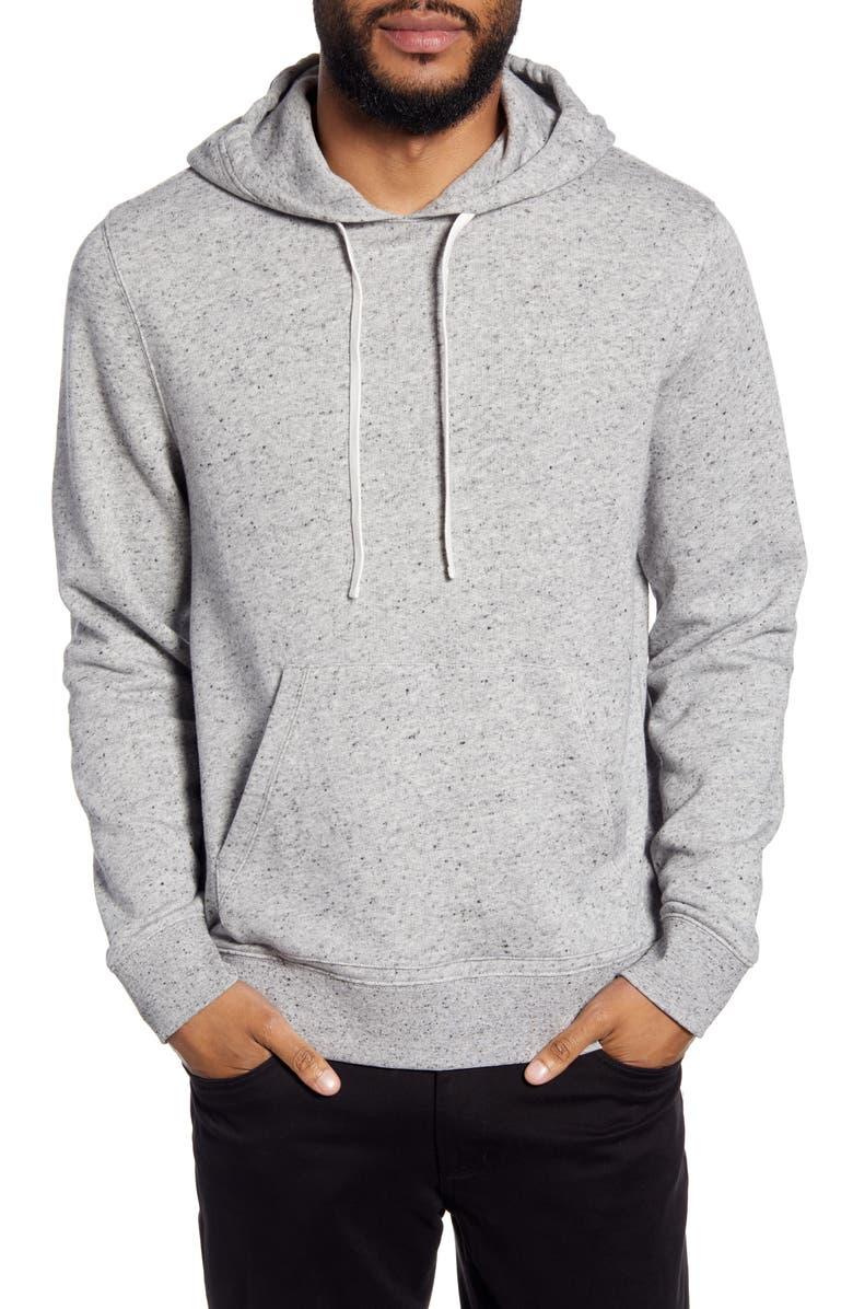 VINCE Regular Fit Neppy Pullover Hoodie, Main, color, H GREY/ BLACK