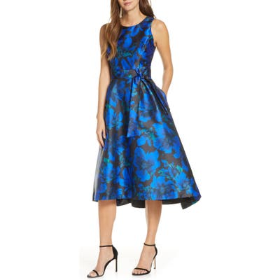 Tahari Floral Mikado High/low Cocktail Dress, Black