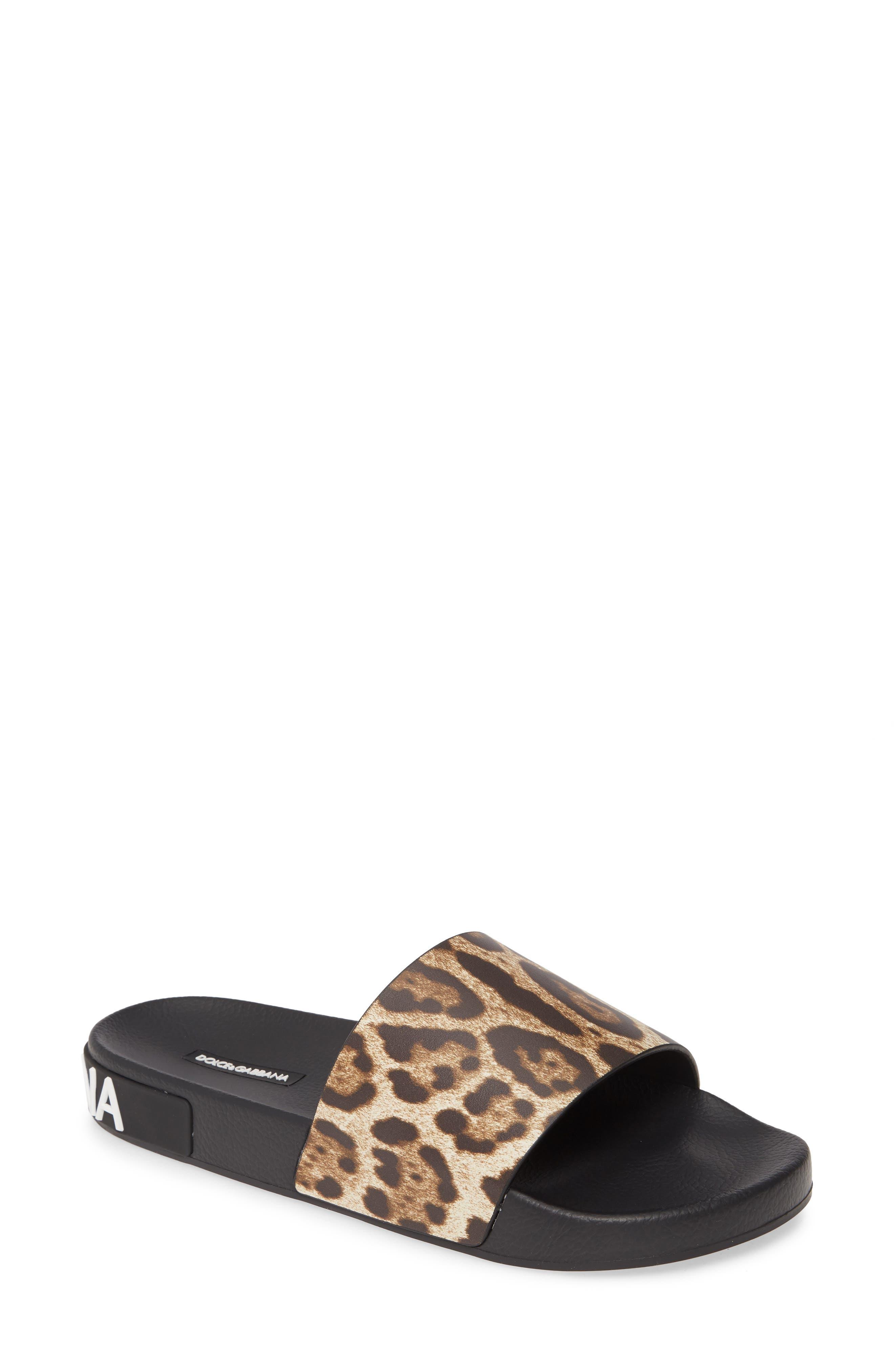 Dolce&Gabbana Saint Barth Leopard Print ZLogo Slide Sandal (Women)
