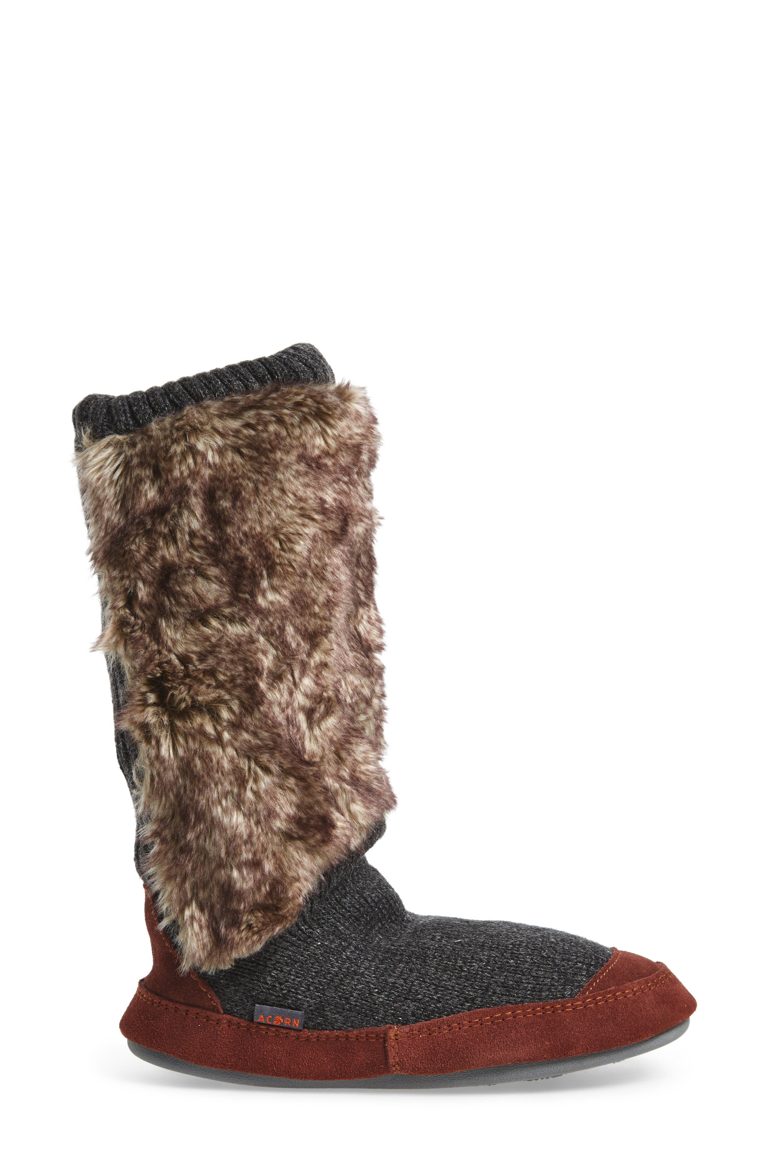 ,                             Slouch Slipper Boot,                             Alternate thumbnail 3, color,                             CHARCOAL FAUX FUR