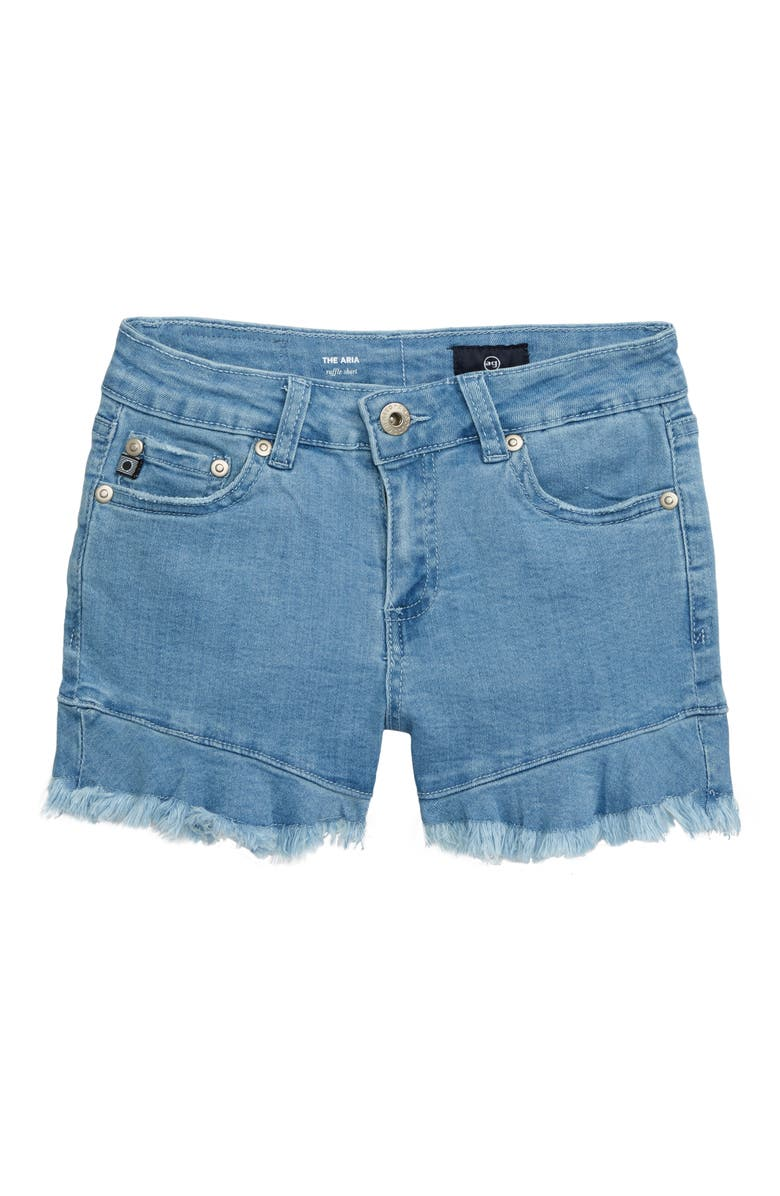 AG Aria Ruffle Denim Shorts, Main, color, LIGHT WASH