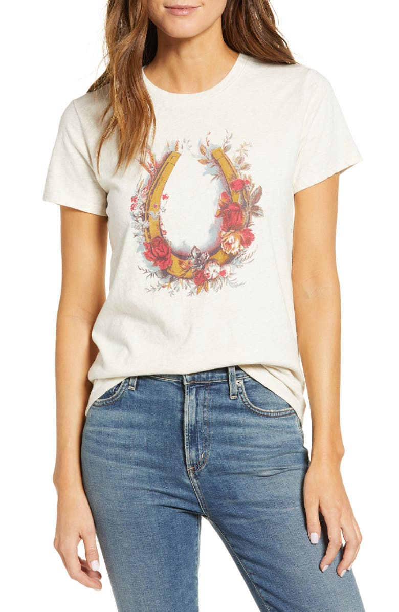 LUCKY BRAND Floral Horseshoe Graphic Tee, Main, color, 261