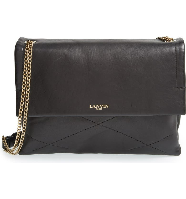 LANVIN 'Medium Sugar' Quilted Lambskin Leather Shoulder Bag, Main, color, 001