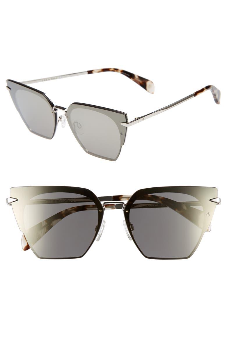 RAG & BONE 64mm Oversize Mirrored Cat Eye Sunglasses, Main, color, PALLADIUM