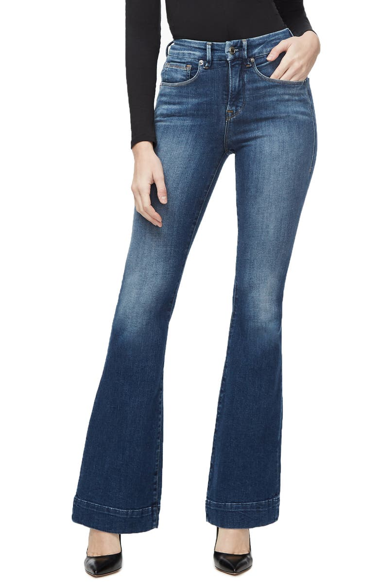 GOOD AMERICAN Good Flare Trouser Jeans, Main, color, BLUE293