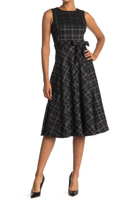 Image of Calvin Klein Windowpane Tie Waist Fit & Flare Midi Dress