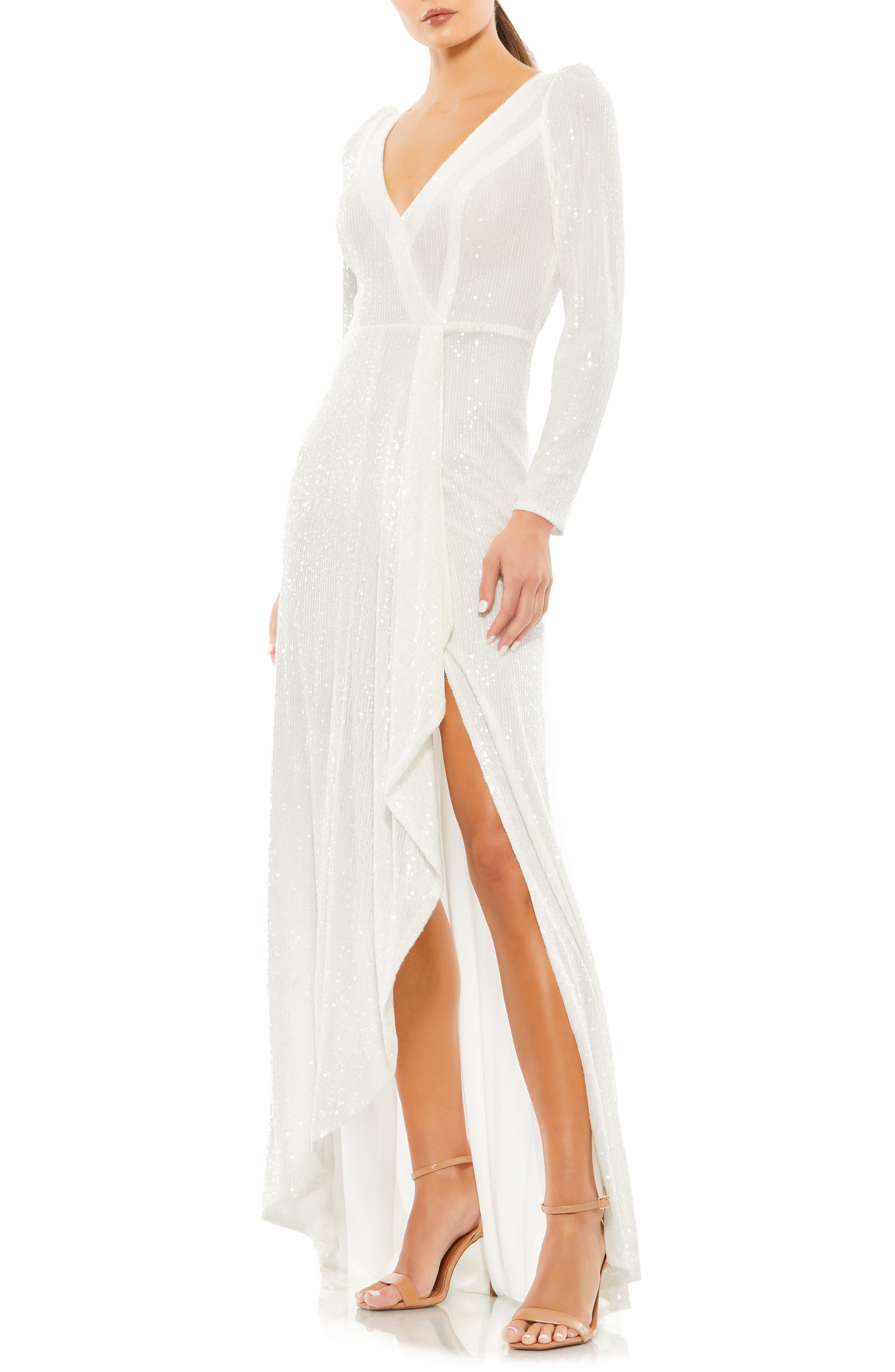 60s Wedding Dresses   70s Wedding Dresses Ieena for Mac Duggal Long Sleeve Sequin Wrap Gown Size 10 in White at Nordstrom $398.00 AT vintagedancer.com