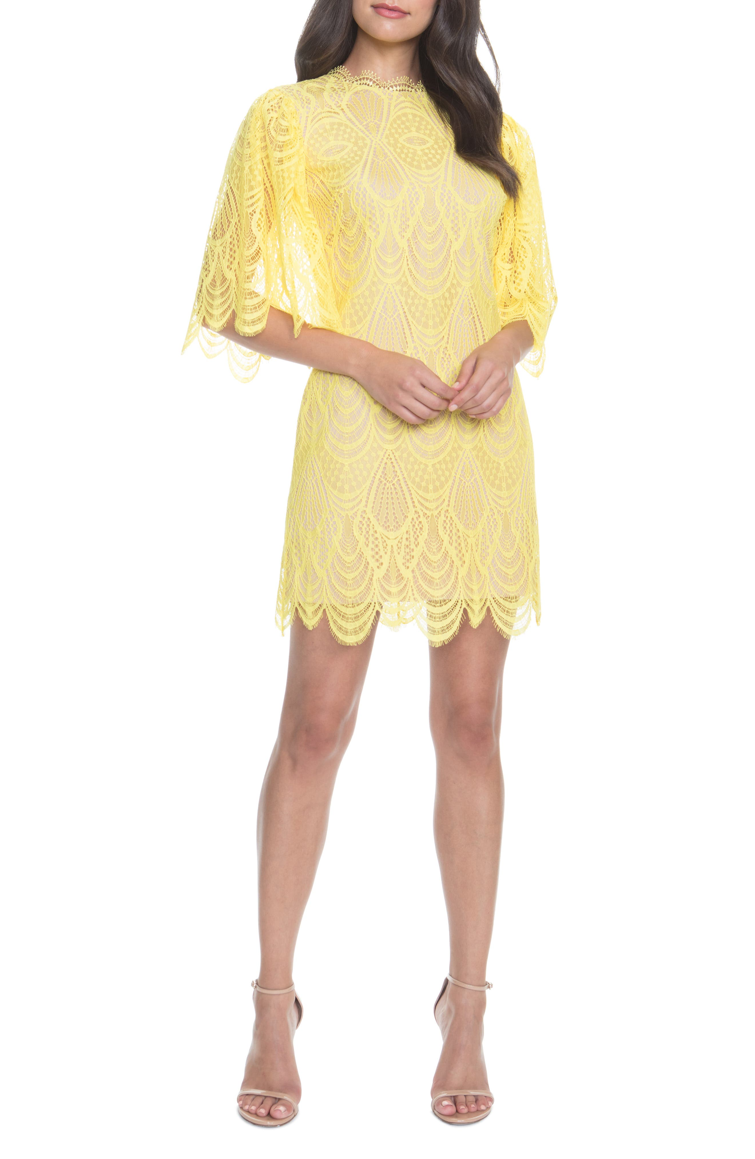 Dress The Population Toni Lace Angel Sleeve Sheath Dress, Yellow