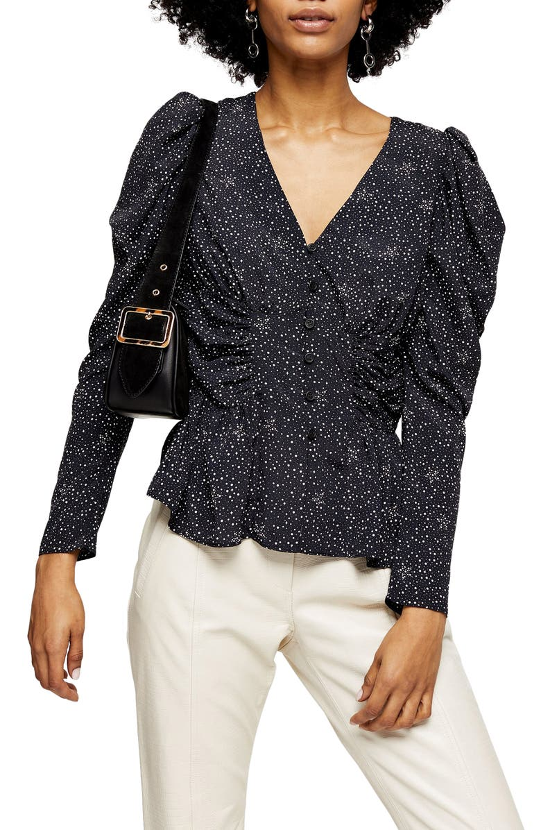 TOPSHOP Star Print Puff Sleeve Blouse, Main, color, BLACK MULTI