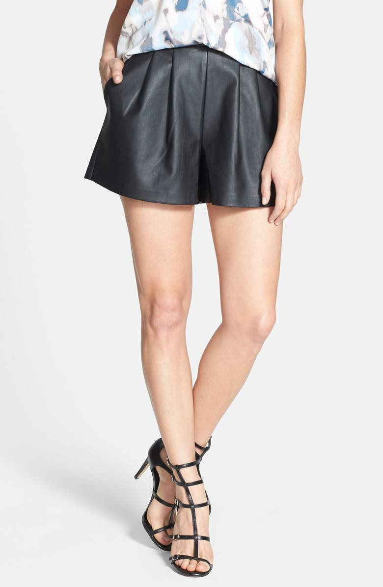 TILDON Faux Leather Pleated Shorts, Main, color, 001