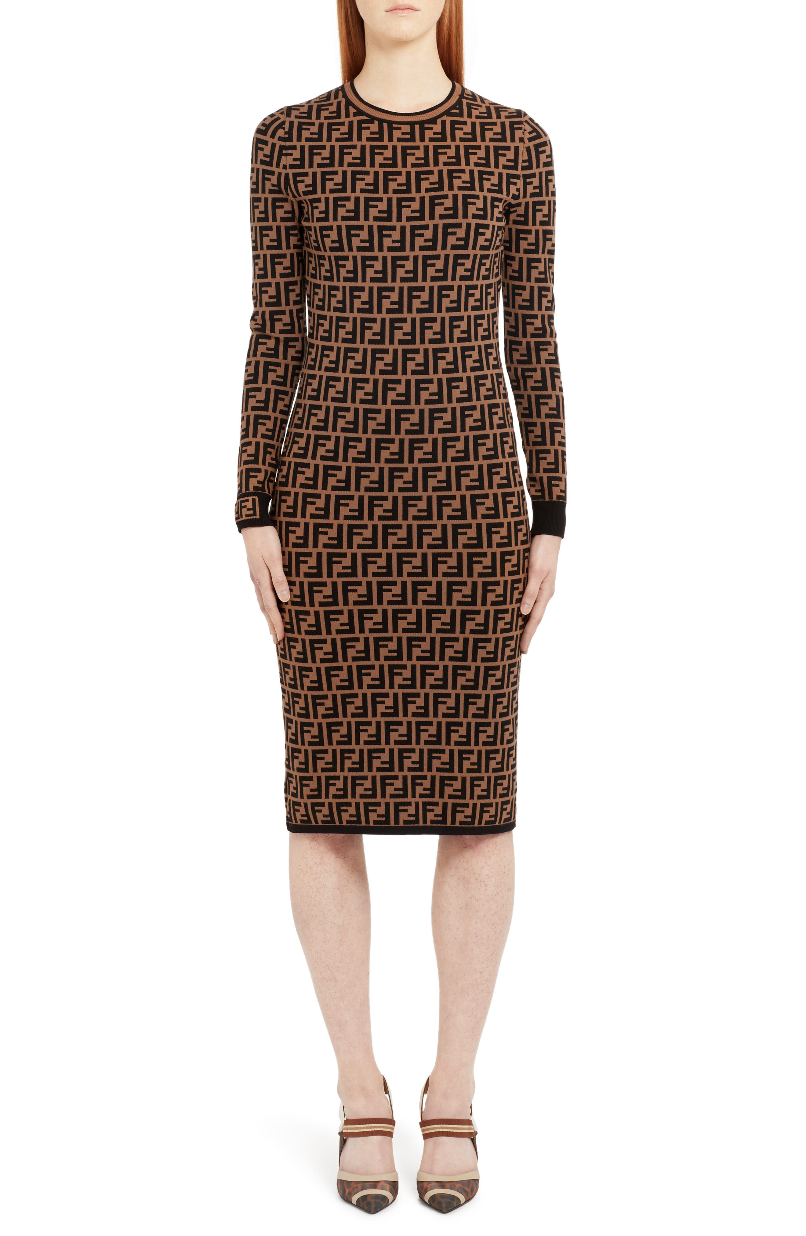 Fendi Long Sleeve Logo Jacquard Wool, Silk & Cashmere Sweater Dress, 50 IT - Brown