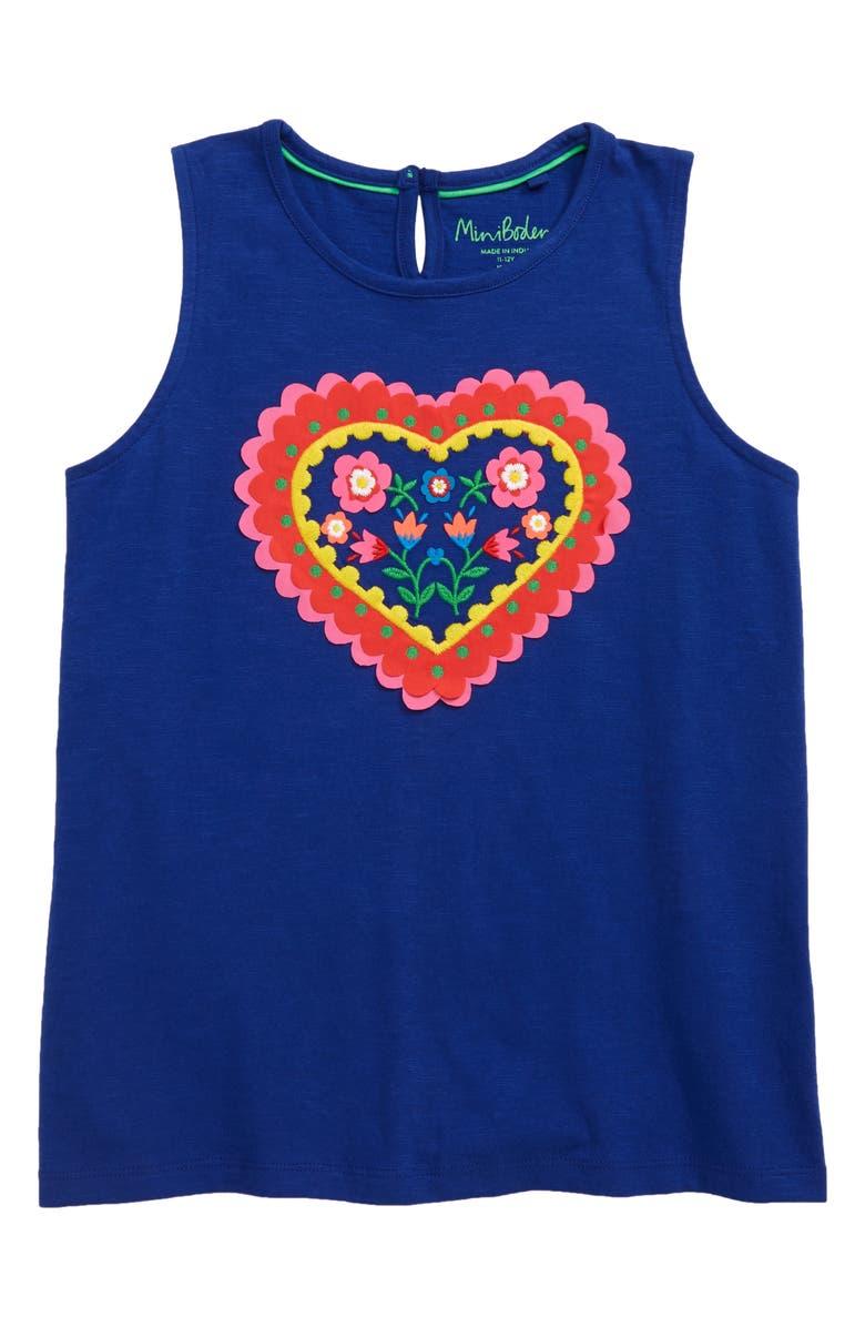 MINI BODEN Heart Appliqué Tank, Main, color, BLU BLUE WAVE