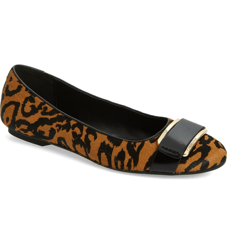 CALVIN KLEIN Oneta Ballet Flat, Main, color, NATURAL ANIMAL PRINT CALF HAIR