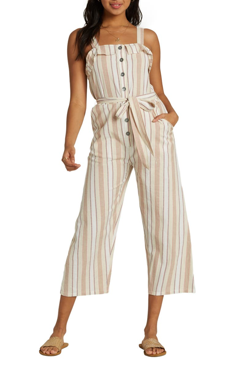 BILLABONG Sandy Toes Wide Leg Crop Jumpsuit, Main, color, ANTIQUE WHITE