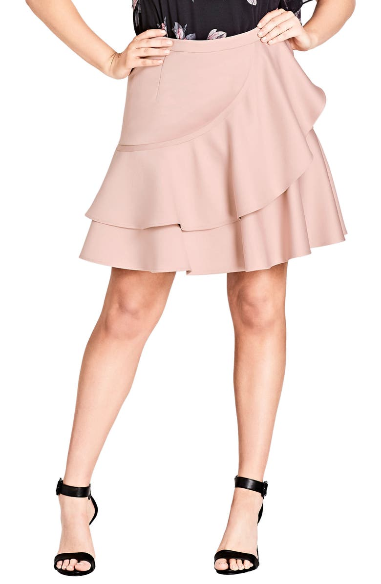 CITY CHIC Frill Me Ruffle Skirt, Main, color, 657