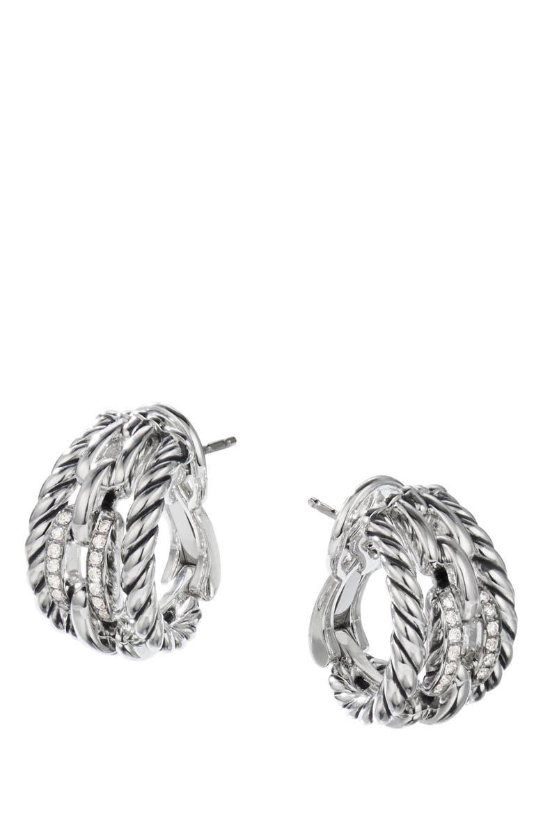 DAVID YURMAN Wellesley Link Hoop Earrings with Diamonds, 21mm, Main, color, SILVER/ DIAMOND