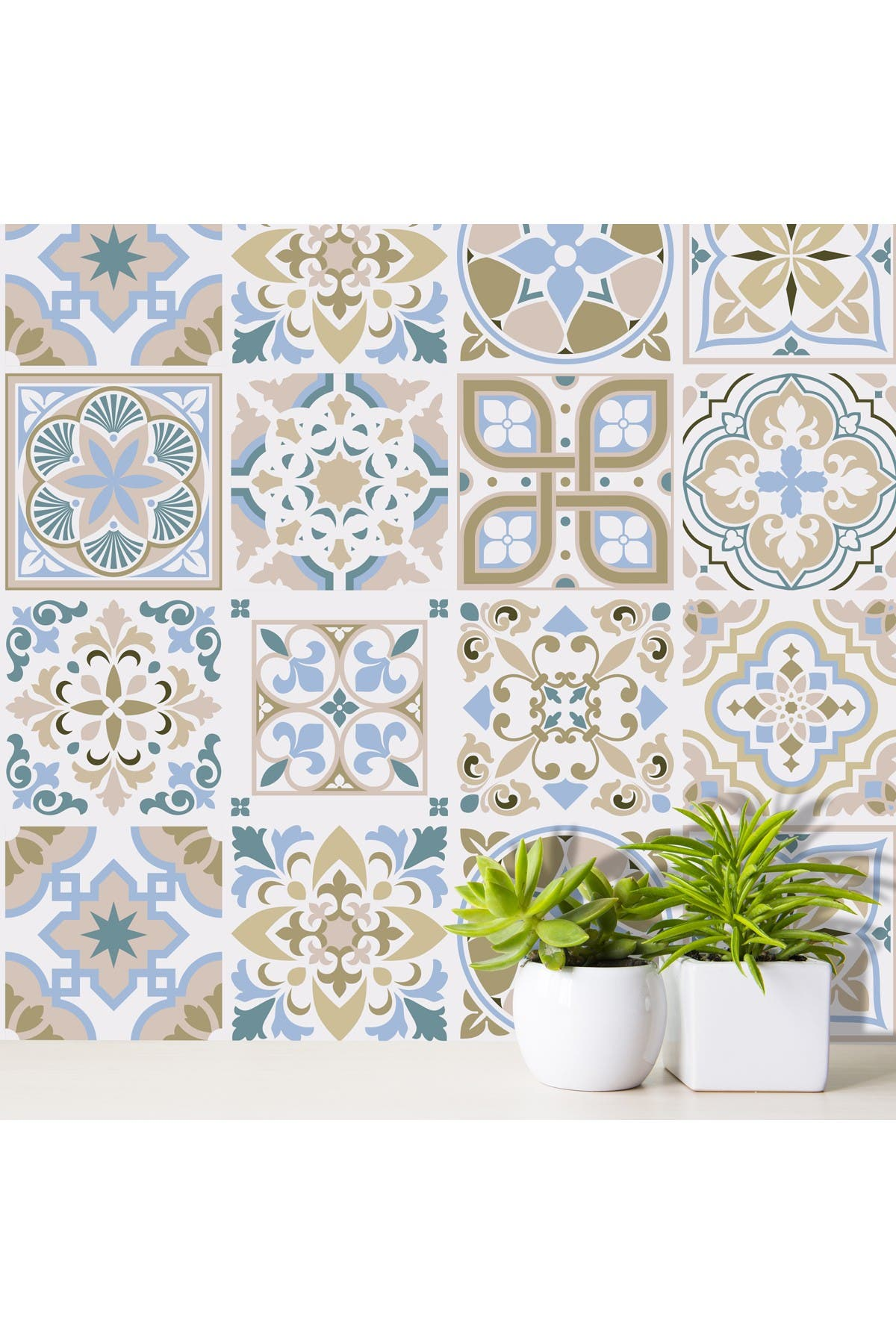Image of WalPlus Traditional Spanish Tiles Wall Stickers 24-Piece Set