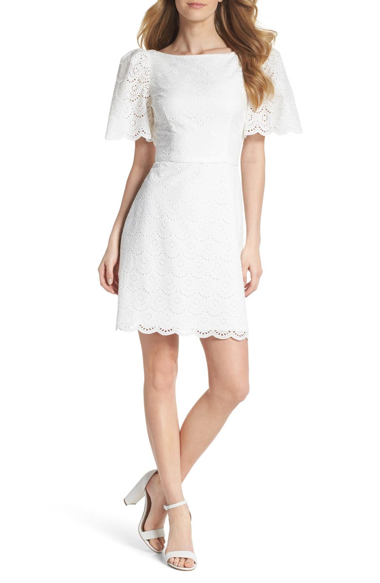 GAL MEETS GLAM COLLECTION Blythe Scallop Eyelet Dress, Main, color, 143