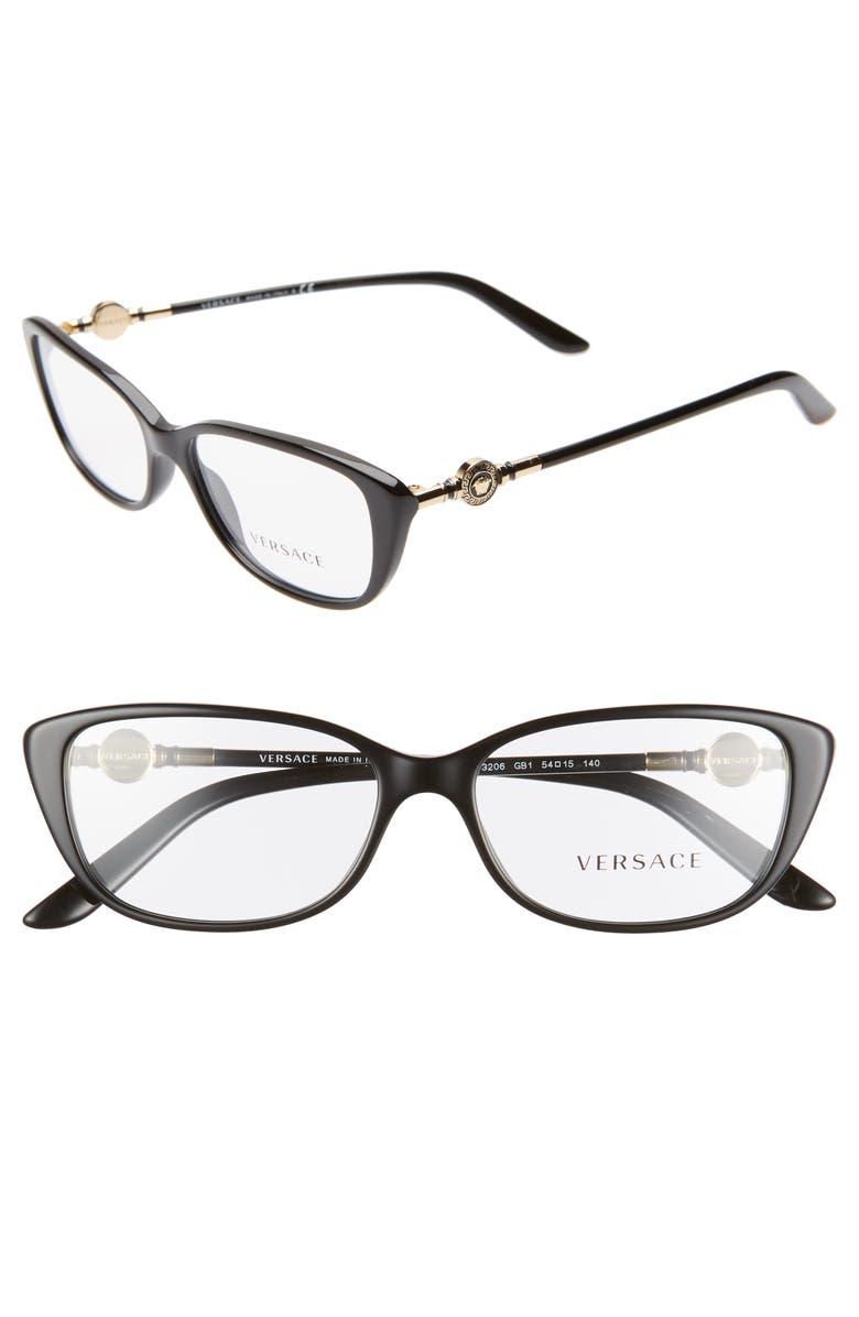 VERSACE 54mm Cat Eye Optical Glasses, Main, color, 001