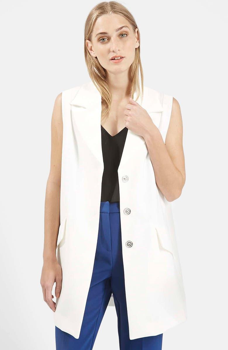 TOPSHOP Swingy Crepe Vest, Main, color, 100