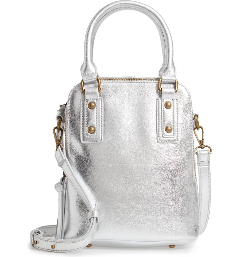 MALIBU SKYE Triple Compartment Faux Leather Satchel, Main, color, SILVER