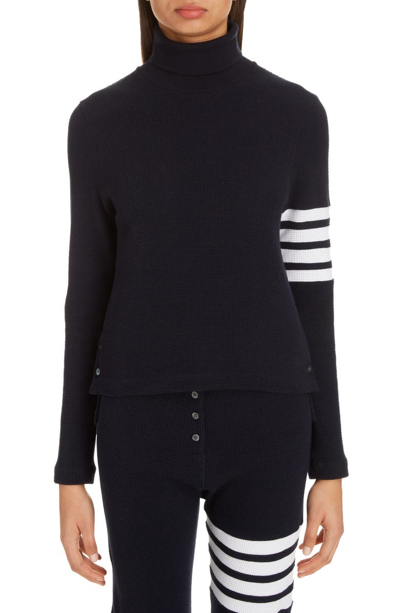 THOM BROWNE 4-Bar Waffle Knit Turtleneck Top, Main, color, NAVY