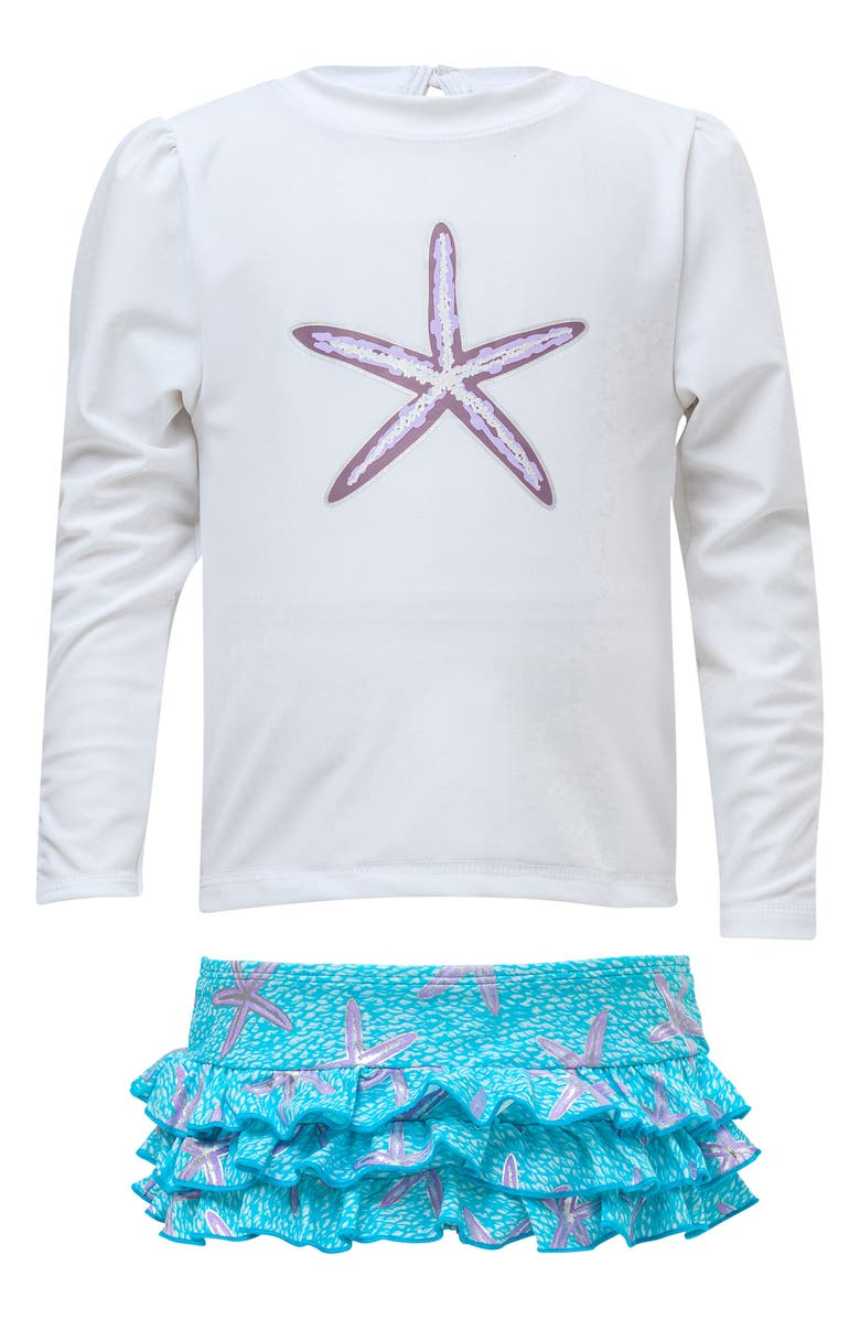 SNAPPER ROCK Starfish Two-Piece Long Sleeve Ruffle Swimsuit, Main, color, AQUA STARFISH