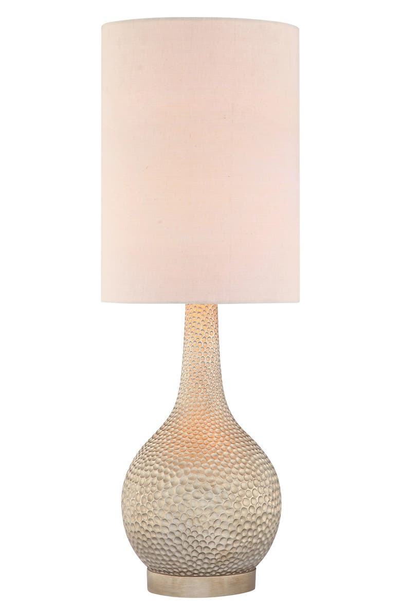 JALEXANDER LIGHTING 'Champagne Silver' Hammered Metal Table Lamp, Main, color, CHAMPAGNE SILVER