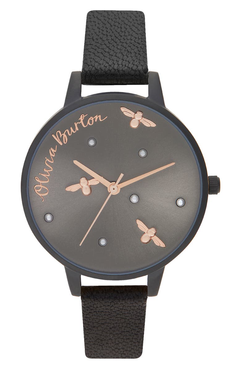 OLIVIA BURTON Pearly Queen Leather Strap Watch, 34mm, Main, color, BLACK/ GREY/ BLACK