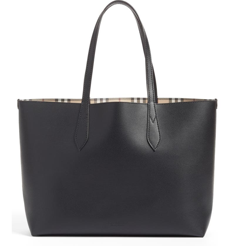BURBERRY Medium Lavenby Reversible Calfskin Leather Tote, Main, color, 001