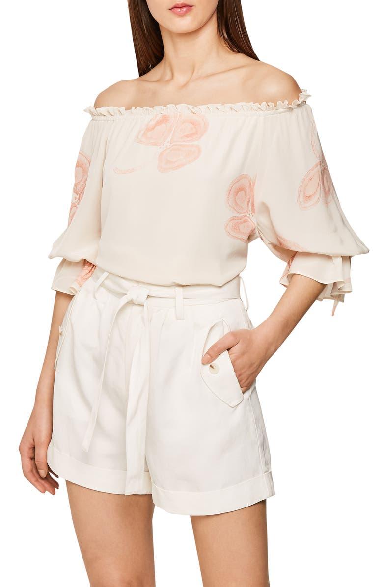 REISS Elise Bardot Off the Shoulder Blouse, Main, color, MULTI WHITE
