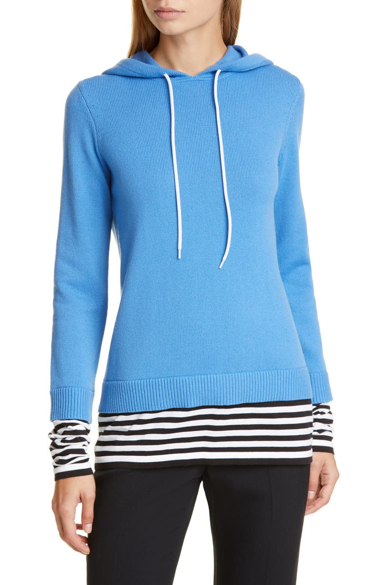 MICHAEL KORS COLLECTION Layered Cashmere Hoodie, Main, color, 418